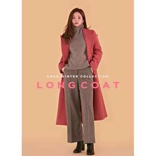 經典百搭款✨ 正韓製質感長版大衣 coat ( CHUU 正韓預購 ) 雙排扣 口袋 翻領 風衣 外套 溫暖 開衩