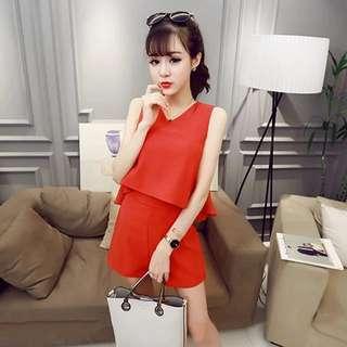 🚚 上衣+下褲(紅)