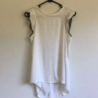 Witchery white short sleeve ruffle shirt