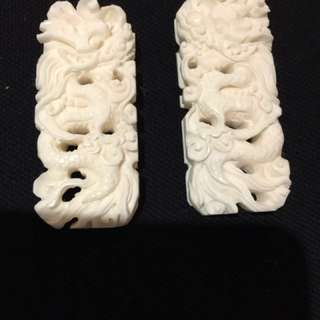 Hand carved 3D bone cup support for HB /shama cage set