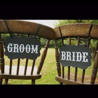 Full set: Bride and groom chair sign