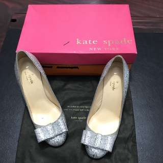 Authentic Kate Spade silver bow heels
