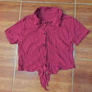 Polo crop top shirt