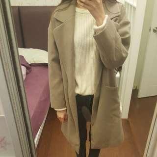 正韓 開領造型口袋寬鬆長版大衣.外套 可可色