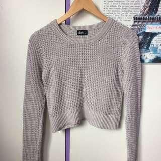 grey crop knit sweater