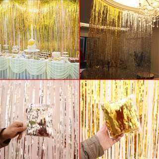  Silver & Gold 1m, 2m, 3m & 4m Foil Metallic Streamers (Free postage & delivery)