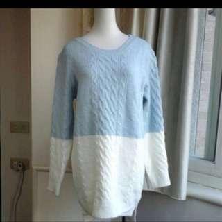 全新雙色前短後長羊毛衣