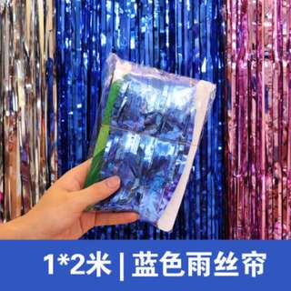 Blue 2m & 3m Foil Metallic Streamers Photobooth Backdrop