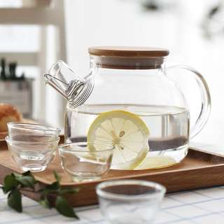 Glass Teapot Set with Wooden Cover
