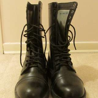 Steel toed combat boots