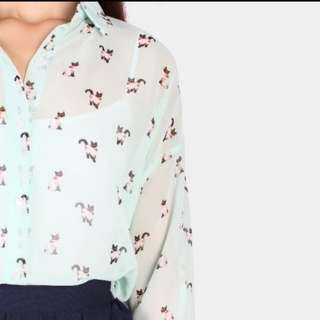 📮💚Translucent Cat Blouse