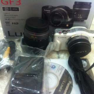 Panasonic Lumix GF3 with pouch+Lenses+MemoryCard