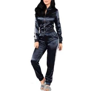 Jacket + pants stripe silk