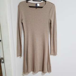 Beige Bell sleeved Jersey dress
