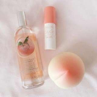 Peach scent body wash and lip balm