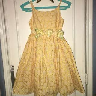 Yellow Eyelet Dress for Girls