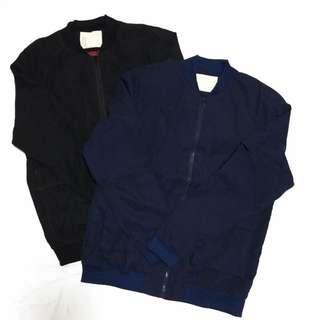 日系質感百搭素面雙色蜜桃絨質中性帥氣長版寬鬆薄款棒球飛行拉鍊外套夾克
