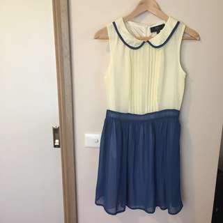 Iska chiffon dress Peter Pan collar size 10