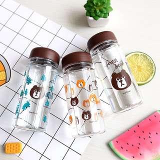 Forest Bear Plastic Water Bottle