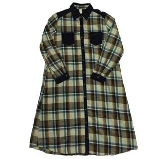 日系復古著感燈芯絨拼接厚棉格紋長版襯衫外套洋裝裙