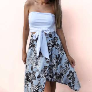 💛 blue floral skirt - FORCAST