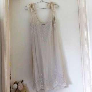 WITCHERY | Beautiful 100% Silk Ivory Tie Shoulder Dress