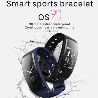 QS90 0.96 Inch OLED Heart Rate Blood Pressure Monitor Waterproof Smart Sports Bracelet Watch