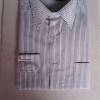 🚚 男韓版時尚修身防皺襯衫白底條紋S~XL