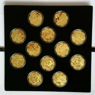 Set of 12 Chinese Almance Gold Plated Medal.