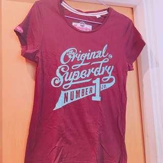 Superdry 酒紅色T恤