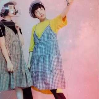 Plant行星日系連身吊帶裙(含黃色長版衣)