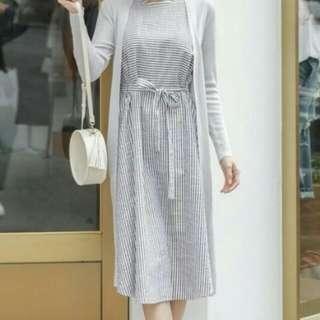 Stripe Midi Trapeze Dress