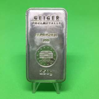 Geiger 250gm security line silver bar