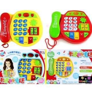 【牛舖MooShop】卡通音樂聲光電話機玩具 電話機會提問發光音樂鈴聲動物叫聲 兒童寶寶小孩嬰幼兒玩具 手眼協調接聽電話手機 二色可選