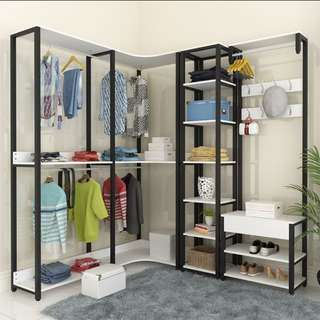 Open concept corner wardrobe