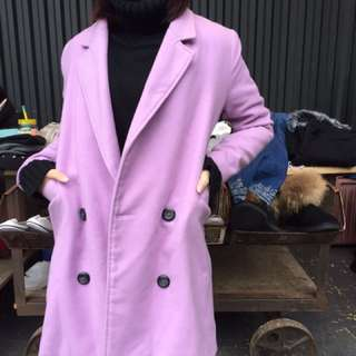 紫色刷毛正韓大衣