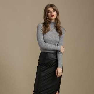 Seduce Turtleneck Grey Knit Wool Top 10