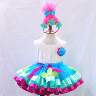 Poppy Troll inspired Trim Ribbon Tutu, Ivory top in flower eyelet & headpiece- -