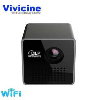 😍😍 Vivicine P1+ WIFI Wireless Pocket LED Pico DLP Mini Projector,Smart Micro Miracast DLNA Airplay Video Projector with Battery