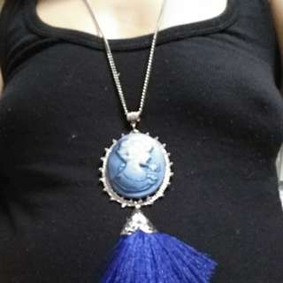 Large blue cameo with blue tassel in silver settings