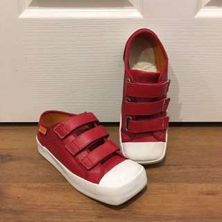 Rare Vintage Square Toe Red Velcro Shoes Size 7