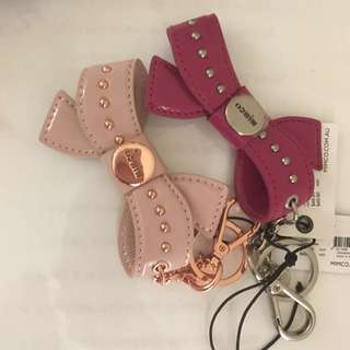 Mimco Bow Key Ring Chain blossom pink