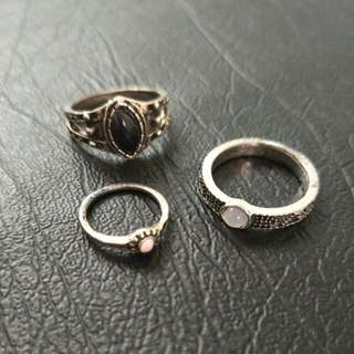Set of 3 Rings - Gypsy, Vintage, Festival, Aztec, Stone, Tarnished Silver