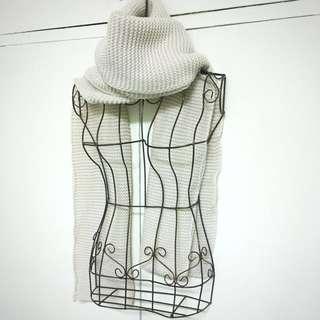 🚚 全新//米白//高厚領//保暖圍巾