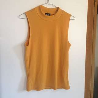 Ladies yellow ribbed top