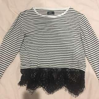 Dotti Striped Cropped Lace Shirt