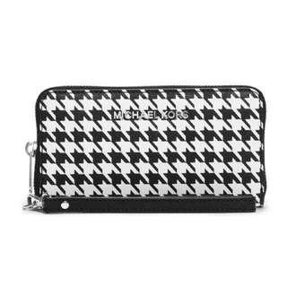 Michael Kors Jet Set Travel Zip Continental Saffiano Wallet Black/white