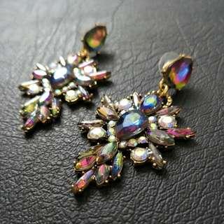 NEW Iridescent Crystal Drop Earrings - Rainbow, Dramatic, Rhinestone, Formal, Dangle