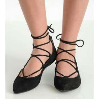 Sepatu flatshoes ballerina lace up tali