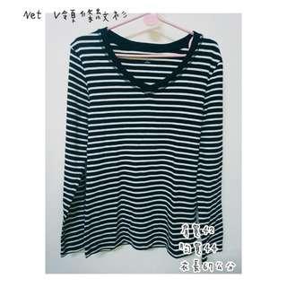 🚚 Net V領條紋衫(L)🌻任兩件100含運